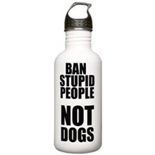 ban stupid people Water Bottle
