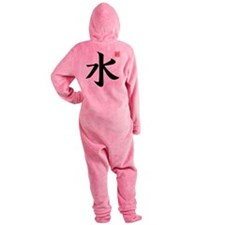 water kanji asian japanese chinese  Footed Pajamas