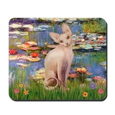 Sphynx cat and lilies. Mousepad