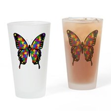 autismbutterfly-transp Drinking Glass