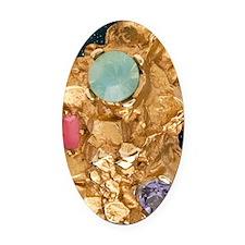 Jeweled_Gold_Nugget_78_iPad_Black_ Oval Car Magnet