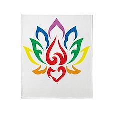 LGBTQ-Lotus-Flower-blk Throw Blanket
