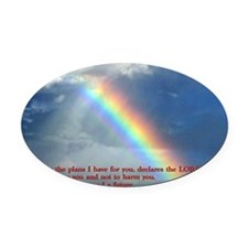 Jeremiah 29-11 Rainbow Oval Car Magnet