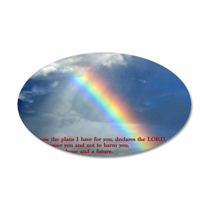 Jeremiah 29-11 Rainbow 35x21 Oval Wall Decal