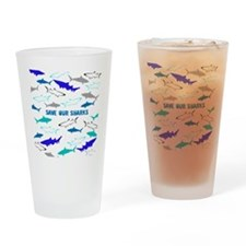 shark collage Drinking Glass