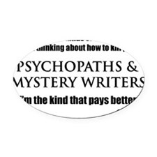 Mystery Writers Wht Oval Car Magnet