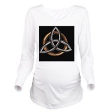 Triquetra Brown/Silv Long Sleeve Maternity T-Shirt