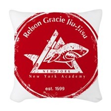 gracie logo distressed red Woven Throw Pillow