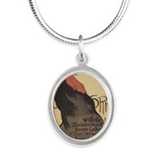 cocorico-tile-steinlen Silver Oval Necklace
