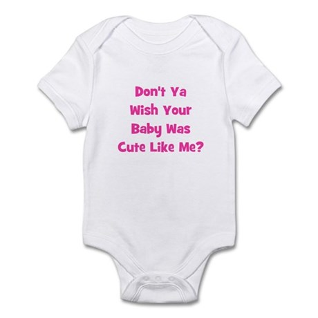 Baby Cute Like Me?  Pink Infant Bodysuit