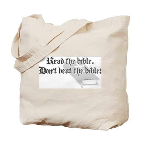 Read/Don't Beat the Bible Tote Bag