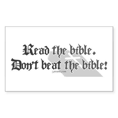 Read/Don't Beat the Bible Rectangle Sticker