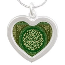 Celtic Blanket Silver Heart Necklace