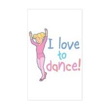Love Dance Ballet Girl 4 Rectangle Decal
