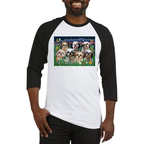 7 Shih Tzus in Moonlight Baseball Jersey
