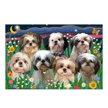 7 Shih Tzus in Moonlight Postcards (Package of 8)