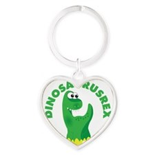 3in circle dinosaurusrex Heart Keychain