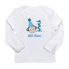 First Birthday Cute Boy Monkey Long Sleeve T-Shirt