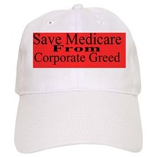 Save Medicare Greed-red bk stick Baseball Cap