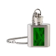 metalicFabricGreen_flipUltra Flask Necklace