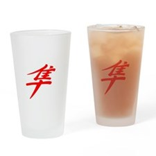 gotbusa_10x10_white_red_kanji Drinking Glass