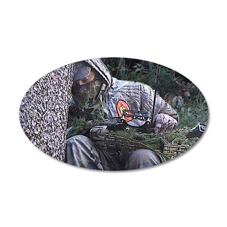 Sleepy Bowhunter 35x21 Oval Wall Decal