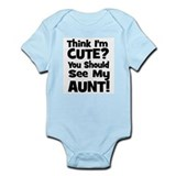Think I'm Cute? Aunt - Black  Baby Onesie