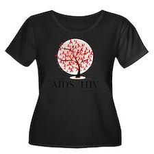 AIDSHIV- Women's Plus Size Dark Scoop Neck T-Shirt