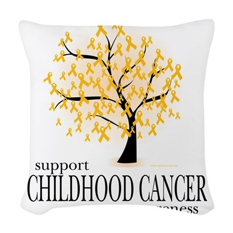 Childhood-Cancer-Tree Woven Throw Pillow