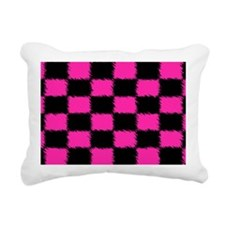Hot Pink Checked LP Hold Rectangular Canvas Pillow