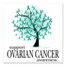 "Ovarian-Cancer-Tree Square Car Magnet 3"" x 3"""