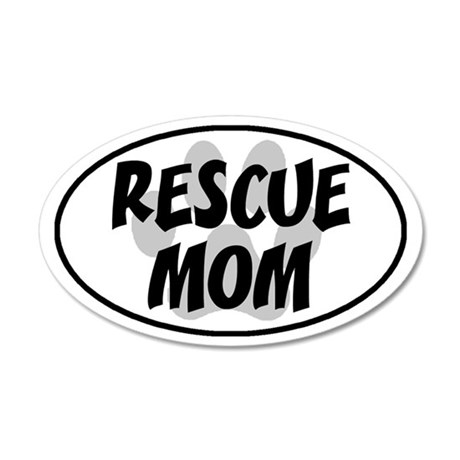 Rescue mom-white 35x21 Oval Wall Decal