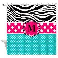 Pink Blue Zebra Monogram Shower Curtain