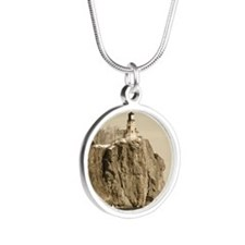 Split Rock Lighthouse State  Silver Round Necklace