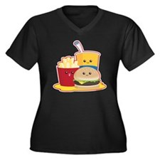 fastfood Women's Plus Size Dark V-Neck T-Shirt