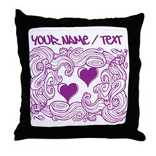 Purple Heart Design Throw Pillow
