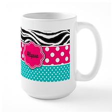 Pink Blue Zebra Personalized Mugs