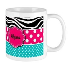 Pink Blue Zebra Personalized Mugs