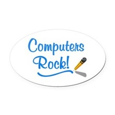 Computers Rock Oval Car Magnet
