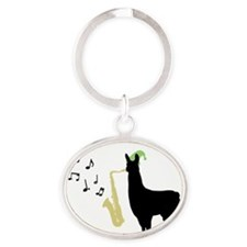 Llamas-D12-iPhone4Case Oval Keychain