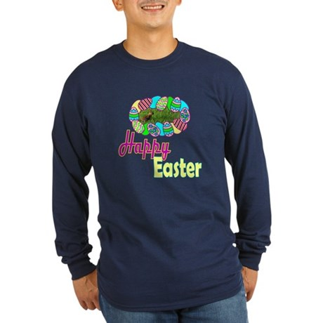 Happy Easter Bunny Long Sleeve Dark T-Shirt