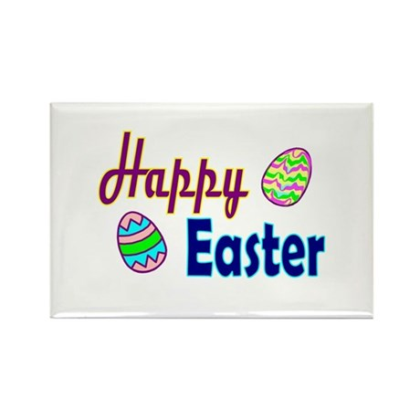 Happy Easter Eggs Rectangle Magnet (10 pack)