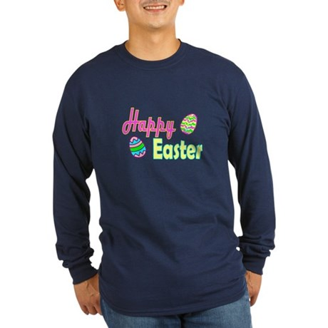Happy Easter Eggs Long Sleeve Dark T-Shirt