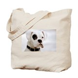 White Boxer With Black Eye Tote Bag