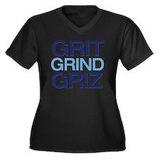 gritgrindgri Women's Plus Size Dark V-Neck T-Shirt