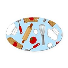 Cute Chef / Cook Love Pattern Blue Oval Car Magnet
