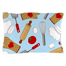 Cute Chef / Cook Love Pattern Blue Pillow Case