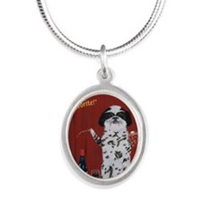 Casa di Shih Tzu Silver Oval Necklace