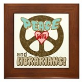 Peace Love and Librarians Framed Tile