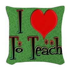 Love To Teach background Woven Throw Pillow